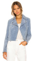 Soia And Kyo Elaine Moto Jacket In Blue. Cerulean