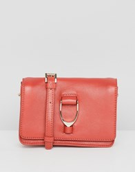 Paul Costelloe Real Leather Saddle Hardware Mini Cross Body Bag Orange
