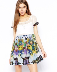 Goldie Skater Dress With Sheer Top White