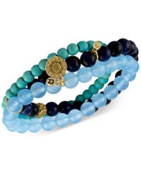 Rachel Roy Gold Tone Blue Beaded Multi Row Stretch Bracelet