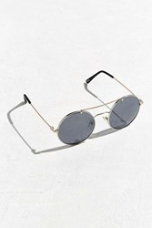 Urban Outfitters Metal Brow Round Sunglasses Silver