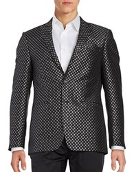 Tallia Orange Classic Fit Diamond Medallion Sportcoat Black Silver