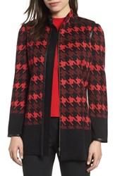 Ming Wang Houndstooth Knit Jacket Black Bushberry