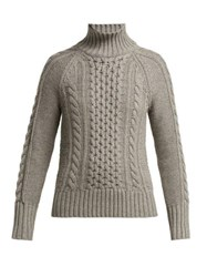 Burberry Awakino Cable Knit Cashmere Sweater Grey
