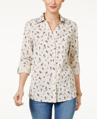 Style And Co Petite Cotton Bird Print Shirt Only At Macy's Free Bird