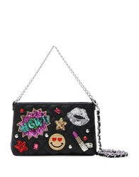 Tua Sequin Patch Clutch Black