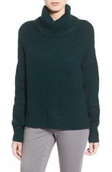 Women's Dex High Low Turtleneck Sweater Forest Green