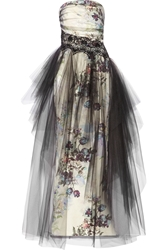 Notte By Marchesa Floral Print Tulle And Faille Gown