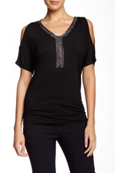 Cable And Gauge Bling Neck Cold Shoulder Tee Black