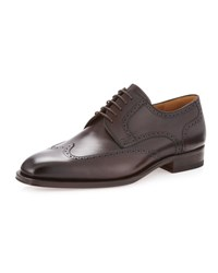 Neiman Marcus Wolden Perforated Wingtip Mid Brown
