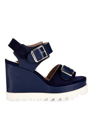 Chrissie Morris Ida Leather And Suede Wedge Sandals