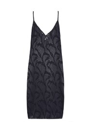 Raey Deep V Neck Fil Coupe Slip Dress Navy