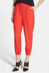 Trouve Elastic Cuff Pleated Pants Red