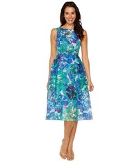 Adrianna Papell Printed Ribbed Organza Fit And Flare Midi Dress Blue Multi Women's Dress
