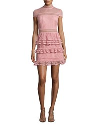 Romeo And Juliet Couture Cap Sleeve Ruffled Lace Dress Dusty Pink