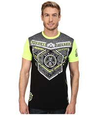 American Fighter Brevard Short Sleeve Football Crew Tee Black Neon Yellow Men's T Shirt