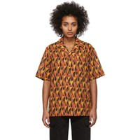 Palm Angels Black And Red Flames Bowling Shirt