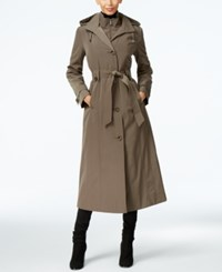 London Fog Hooded Layered Maxi Trench Coat Fatigue Green