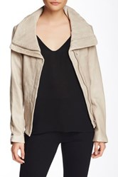 Soia And Kyo Christa Spread Collar Leather Moto Jacket Beige