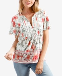Lucky Brand Floral Print Pintucked Babydoll Top Blue Multi