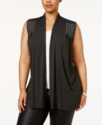 Belldini Plus Size Braided Vest Heather Charcoal