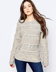 Pepe Jeans Maya Jumper With Cable Knit And Fringe Detail 814Ecru White