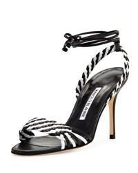 Manolo Blahnik Amus Woven Leather 90Mm Sandal Black White Black White Nappa