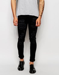 Asos Extreme Super Skinny Jeans With Open Rips Black