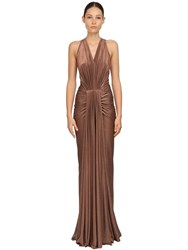 Rick Owens Draped Stretch Lurex Jersey Dress Bronze