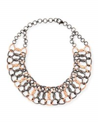 Siena Jewelry Silver And 14K Rose Gold Diamond Chain Choker Necklace