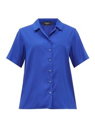 Rochas Notch Collar Silk Poplin Shirt Blue