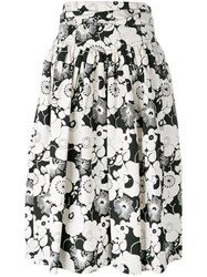 Marc Jacobs Floral Pleated Skirt White