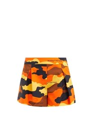 Off White Camouflage Print Pleated Cotton Shorts Brown Multi