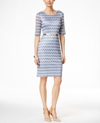 Connected Petite Belted Metallic Chevron Lace Sheath