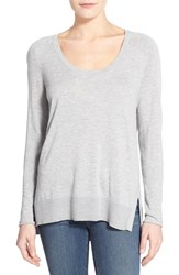 Women's Halogen Knit Scoop Neck Step Hem Pullover Grey Heather