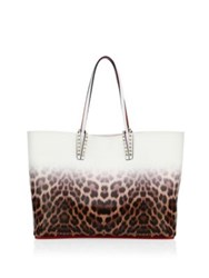 Christian Louboutin Cabata Degrade Leopard Print Leather Tote Brown White