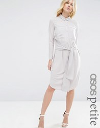 Asos Petite Midi Shirt Dress With Tie Front Silver White