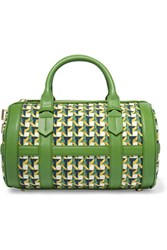 Tory Burch Riviera Leather Trimmed Printed Canvas Tote Green