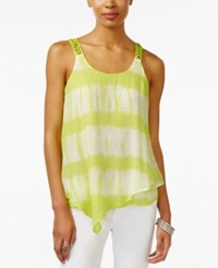 Amy Byer Bcx Juniors' Printed Tiered Tank Top Citron