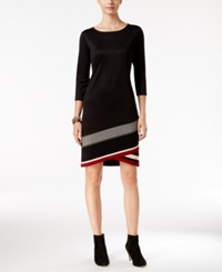 Inc International Concepts Asymmetrical Knit Dress Only At Macy's Deep Black