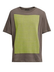 Christopher Kane Stud Embellished Cotton Jersey T Shirt Grey Multi