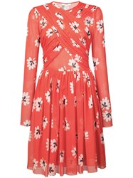 Ganni Floral Print Pleated Dress Yellow And Orange