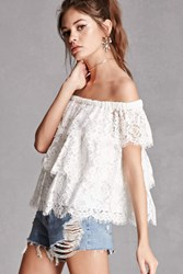 Forever 21 Tiered Lace Off The Shoulder Top White