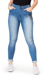 Elvi Plus Size Women's Embellished Stretch Skinny Jeans