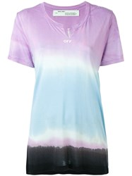 Off White Tie Dye Print T Shirt Women Modal L Pink Purple