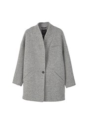 Mango Cocoon Wool Blend Coat Grey