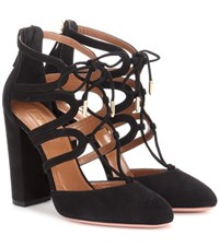 Aquazzura Holli 105 Cut Out Suede Ankle Boots Black