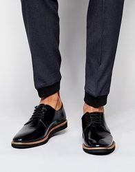Asos Derby Shoes In Black Leather With Wedge Sole
