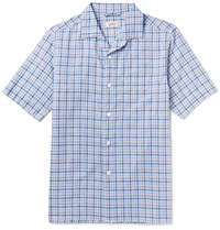 Arpenteur Cotton Linen And Ramie Blend Checked Shirt Blue