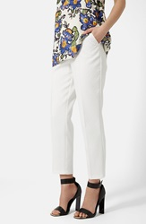Topshop Textured Cigarette Trousers White